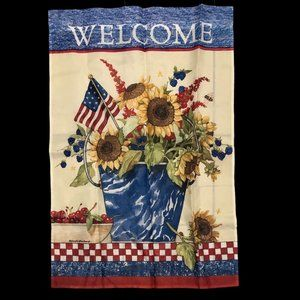 NWOT Sunflower Americana Welcome Outdoor Flag